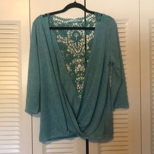 Maurices lace back too real long sleeve blouse L